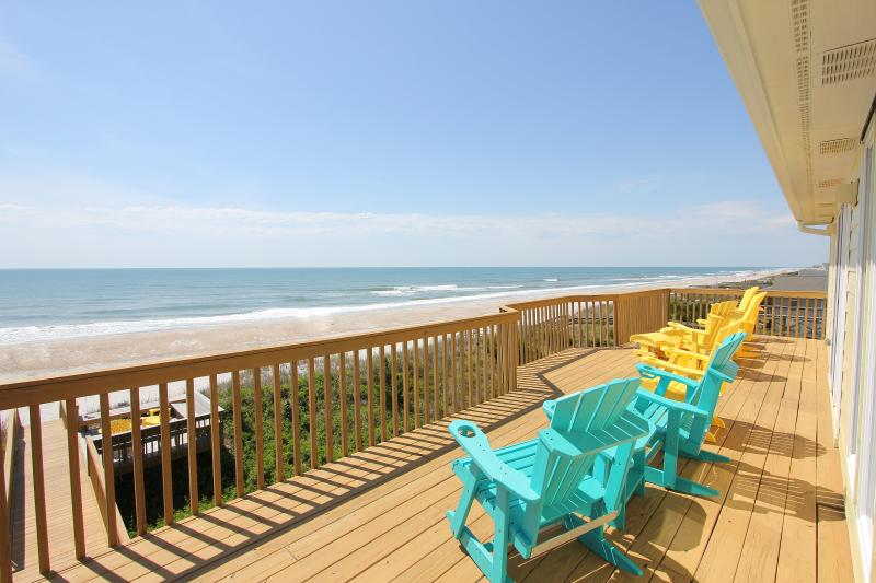 Top floor ocean front deck - Oceanfront Decks, Hot Tub, New Renovations - Holly Ridge - rentals