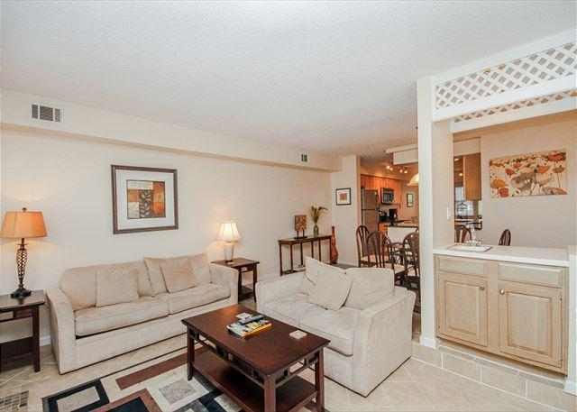 Living Room - Evian 109, Updated 2 Bedrooms, Golf View, Large Pool, Tennis, Sleeps 6 - Forest Beach - rentals