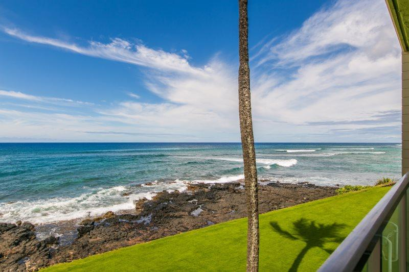 View from Kuhio Shores 215. - Free Mid-size car with Kuhio Shores 215-Ocean front A/C, 2 bedroom. Sleeps 6. - Poipu - rentals