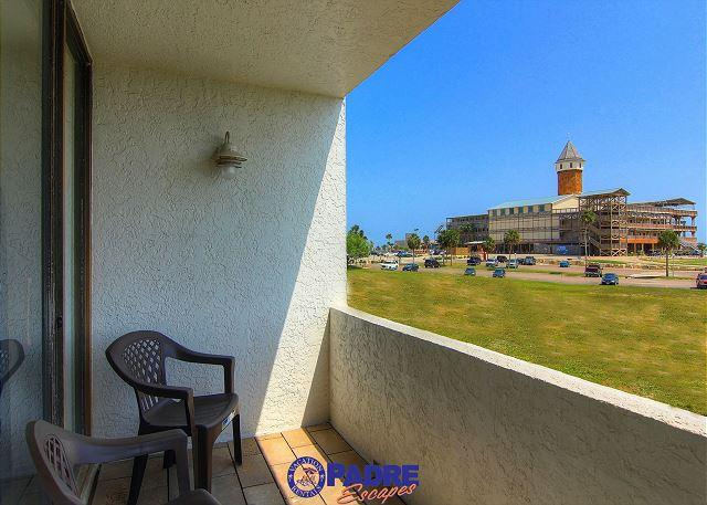 Living room balcony with a great view of the water park - 2/2 Condo at the Schlitterbahn entrance and just a mile Off the Beach! - Corpus Christi - rentals
