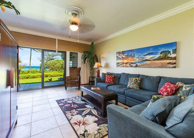 Living Room with Ocean Views & Queen Sofa Sleeper - Kaha Lani Resort #123 Oceanfront, Steps to the Beach, Great Location! - Lihue - rentals