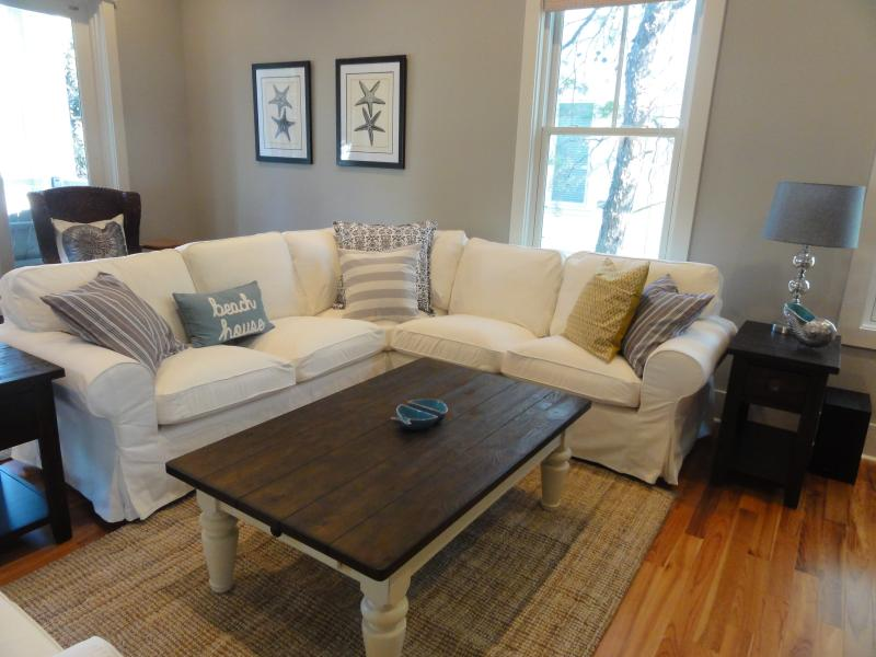 Large, open living area with new sectional sofa and chairs - Upscale home short walk to beach/pool! Near Seaside, Watercolor, Grayton Beach - Grayton Beach - rentals