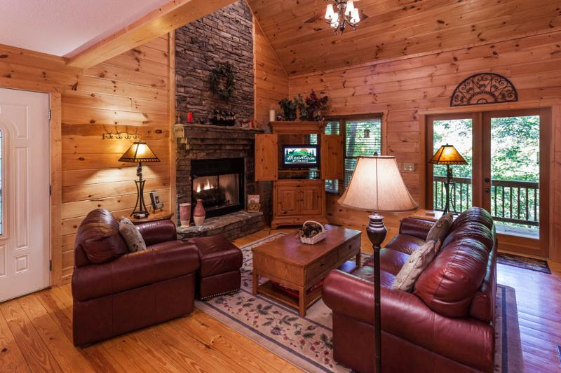 Beautiful great room with gas log fireplace - Mountain Memories - Ellijay - rentals