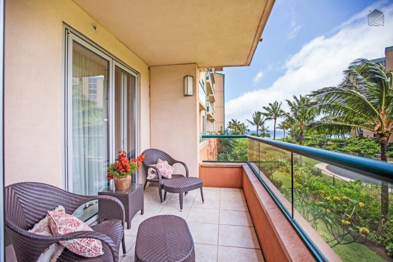 Enjoy a partial ocean view from your lanai - right outside the master bedroom. - Brand New, Just Steps to the Beach at Luxury Honua Kai Resort - Golden Shores at 242 Konea - Ka'anapali - rentals