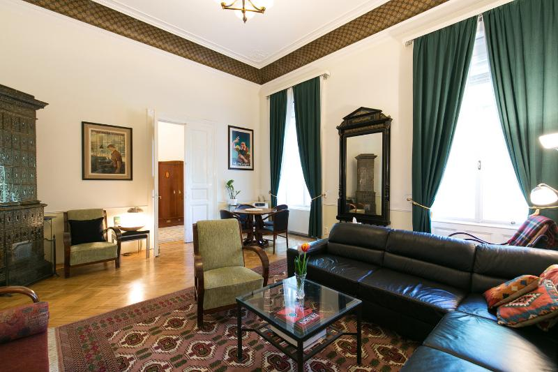 living room with 25' ceilings - Apt. Max - Mitteleuropean Luxury, CRUISE SPECIALS - Budapest - rentals