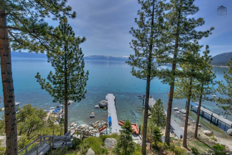 Is this view something that would be of interest? That's your private dock below, too. - Large home with private dock, hot tub, great outdoor space - right on the lake - Meeks Bay Getaway - Tahoma - rentals