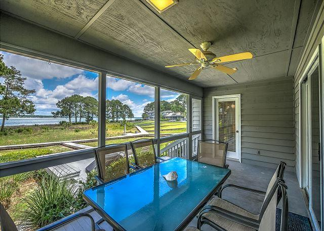Screened Porch - 9 Lands End Road -  4 Bedrooms & Waterfront (Calibogue Sound Views). - Hilton Head - rentals