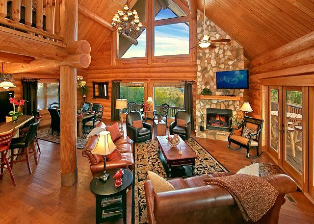 Living Room - MOUNTAINTOP PARADISE - Paradise in the Smokies! One-of-a-Kind Luxury Cabin with Majestic Views! - Pigeon Forge - rentals