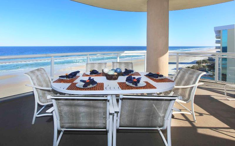 Ocean Front Balcony with large dining table - Ocean Vistas 3 Bdr Corner Unit Local Owner Manager - Daytona Beach - rentals