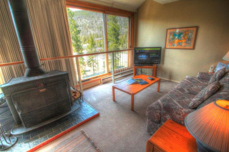 Living Room - The living area has a real wood burning fireplace! - 1811 Decatur - Lakeside Village - Keystone - rentals