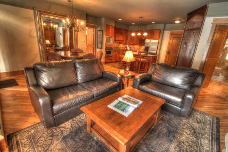 Living Room - Leather furniture and hardwood floors. - 3044 Lone Eagle - River Run - Keystone - rentals