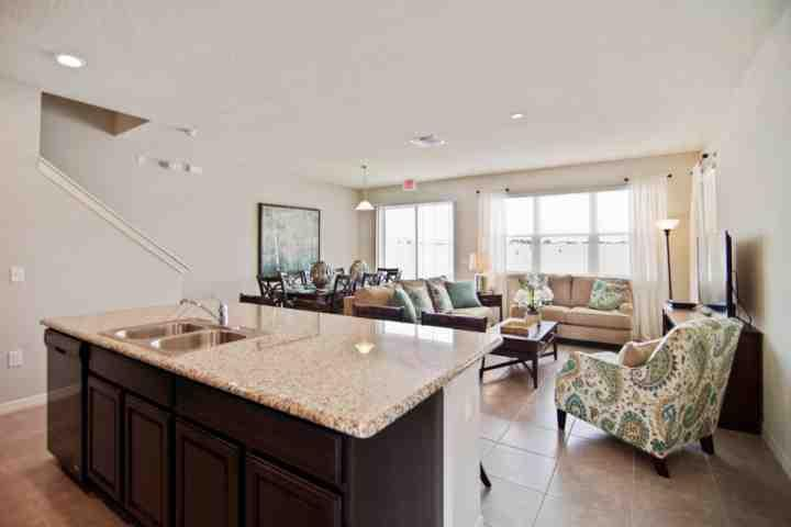 Beautiful Open Floor Plan Living Area, Dining Area, Kitchen and Patio View - 5131 Compass Bay - Kissimmee - rentals