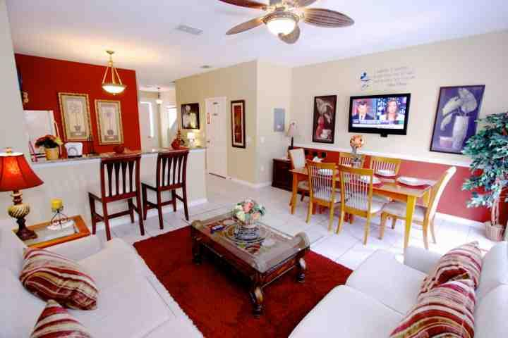 Living Area, Dining Area, Wall Mounted TV and Pool Access - 2582 Windsor Hills - Kissimmee - rentals