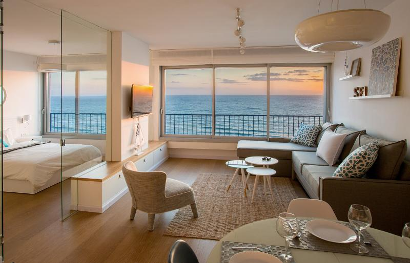 Breathtaking ocean views. A curtain along the glass wall can be closed for privacy.  - Breathtaking Views! Brand New Luxury on Nitza - Netanya - rentals