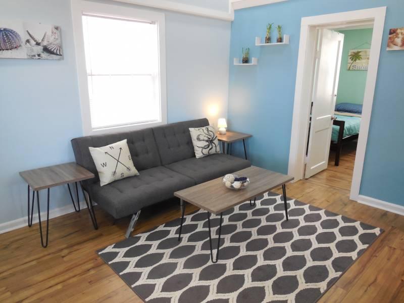 Living Area - Sunny Side Up - Folly Beach, SC - 2 Beds BATHS: 1 Full - Blue Mountain Beach - rentals