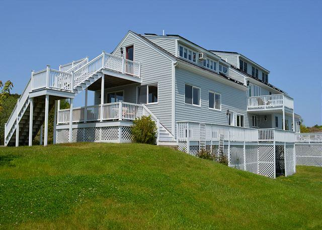 Rear view with yard and deck. - Bell View: Private tennis court and an in-law suite - Gloucester - rentals