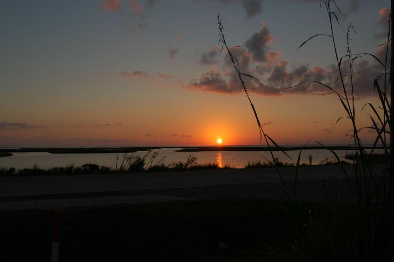 Sunset view over the wetlands, as seen from house - Sunset Nest -  Panoramic Views of Wetlands and Bay - Galveston - rentals