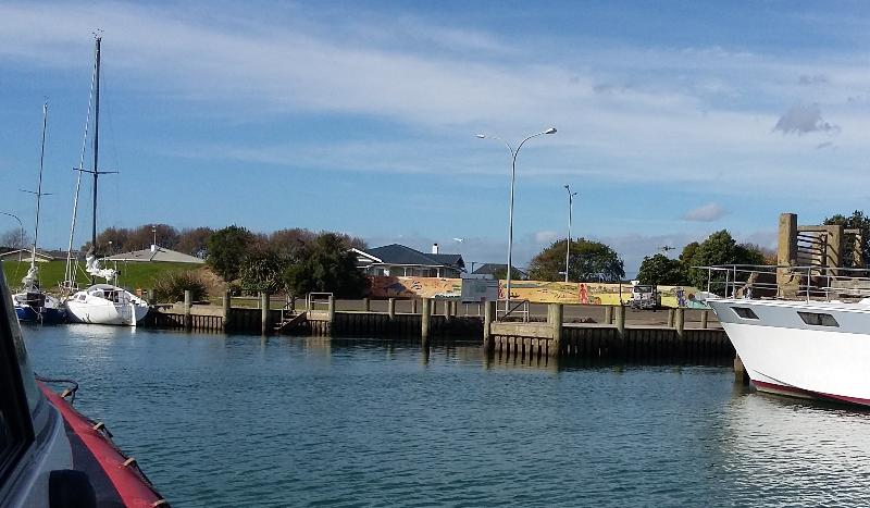 The Wharf Hub nestled amidst visiting yachts. - THE WHARF HUB - shipshape accommodation - Opotiki - rentals