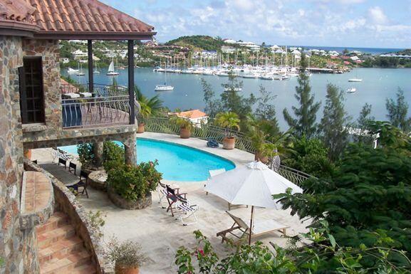 THE STONE HOUSE... 4 BR St Maarten rental villa overlooking Oyster Pond...walk to Dawn beach 800 480 8555 - STONE HOUSE... beautiful 4 BR villa overlooking Oyster Pond...can walk to Dawn beach - Oyster Pond - rentals
