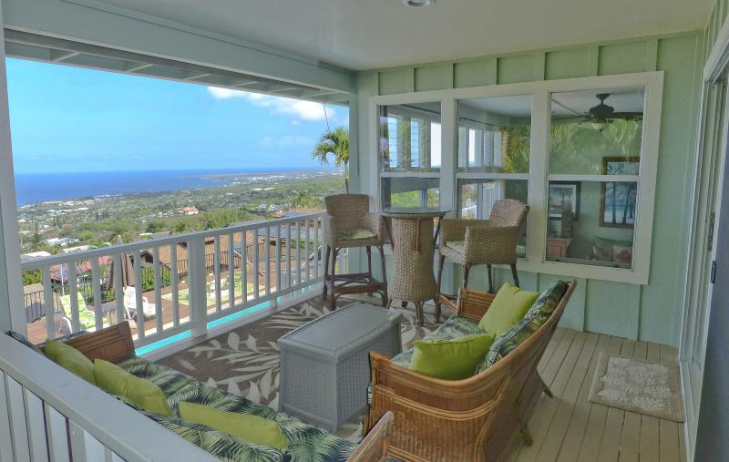 Spacious lanai with amazing views of Kona is the perfect gathering spot - Luxury Home, Awesome Views, Heated Pool, in town - Kailua-Kona - rentals