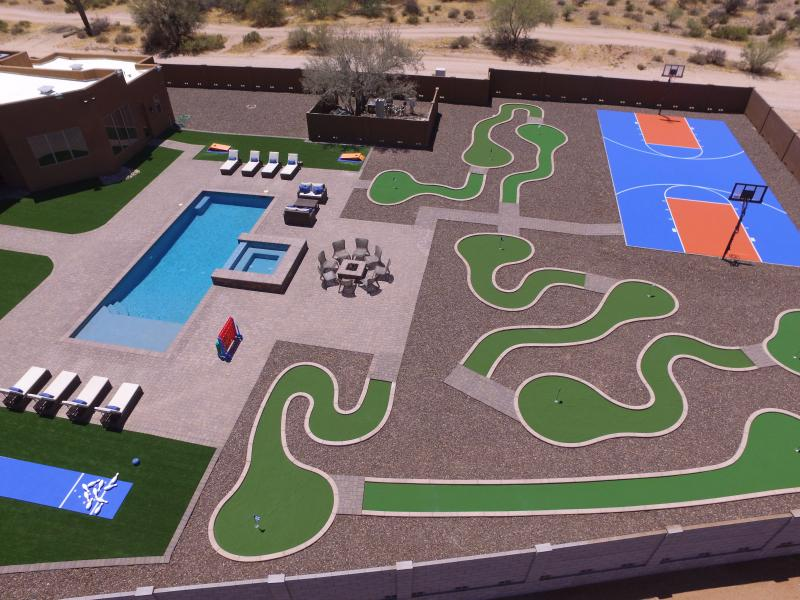 Resort style backyard with a $400,000 remodel.  Real picture taken from a drone - Voted #1 MUST SEE! One Of A Kind Million   Estate - Rio Verde - rentals