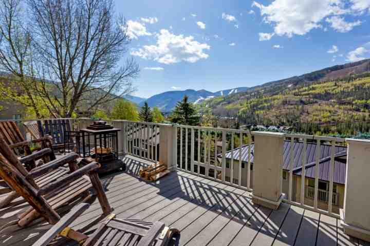 Beautiful Vail Mountain views off main level deck, with plenty of seating and fire pit. - Sandstone Single Family Home, Perfect for Large Groups, Private Hot Tub, Lg deck w/ Mtn Views! - Vail - rentals