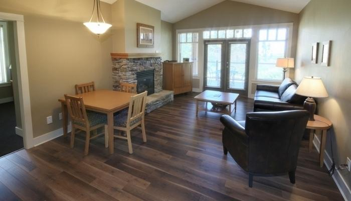 After an awesome day on the golf course, laze in front of the rock fireplace. - Vernon Predator Ridge 2 Bedroom Craftsman Cottage - Vernon - rentals