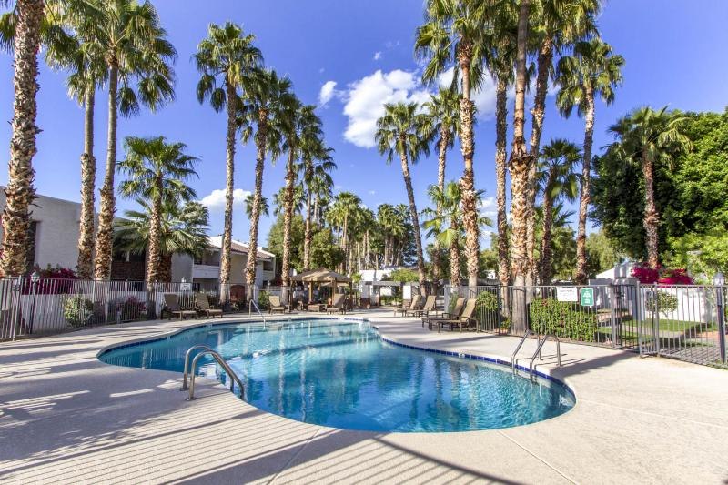 Pool surrounded by palm trees - Just Like Home! Furn 2Bd Condo in McCormick Ranch - Scottsdale - rentals