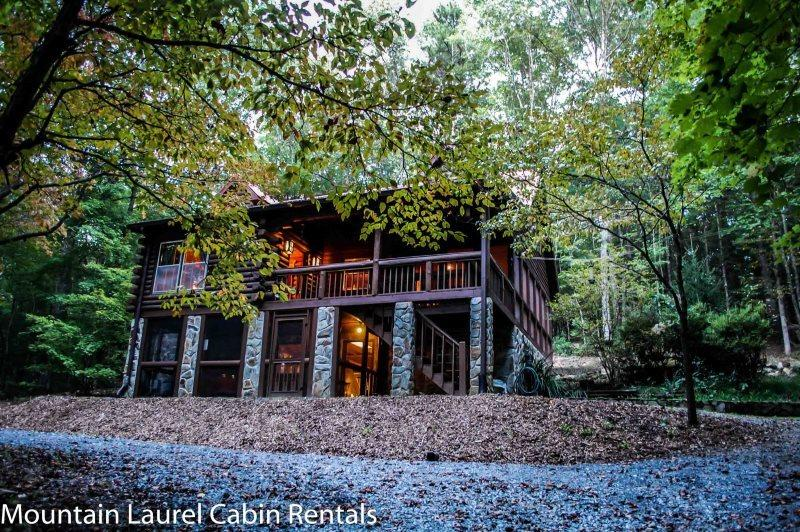 DEER MEADOW- 2BR/3BA- SECLUDED CABIN SLEEPS 8, HOT TUB, CHARCOAL GRILL, FIRE PIT, PING PONG, PET FRIENDLY, SATELLITE TV, WET BAR, GAS LOG FIREPLACE, WOOD BURNING STOVE, WIFI, WALKING DISTANCE TO THE TOCCOA RIVER! STARTING AT $125 A NIGHT! - Image 1 - Blue Ridge - rentals