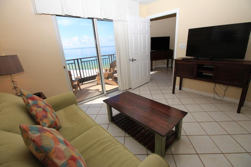 Living room with gulf view - remaining July dates $299/nt. Free Tram/ WIFI 10th floor condo! - Destin - rentals