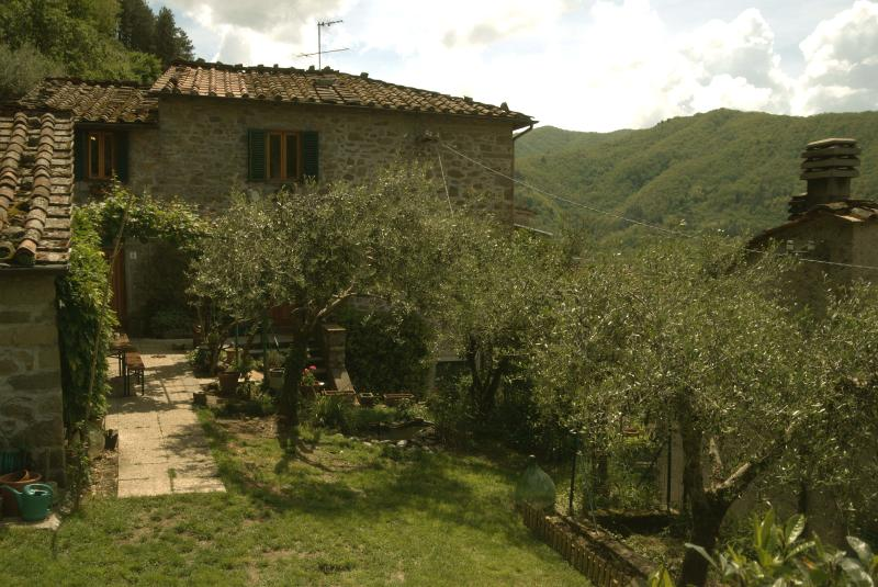 The house and front garden - Village home in Bagni di Lucca - Bagni Di Lucca - rentals