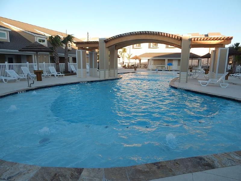 Gorgeous salt water pool with ark-fountain and beautiful night lights. - Brand New 1b/1b for 6! Pools! Beach! Netflix! - Corpus Christi - rentals