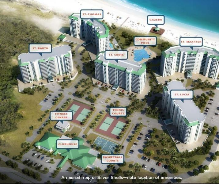 Aerial Map of Silver Shells Resort and Spa - St Lucia Penthouse 5: Gulf Views! - Destin - rentals