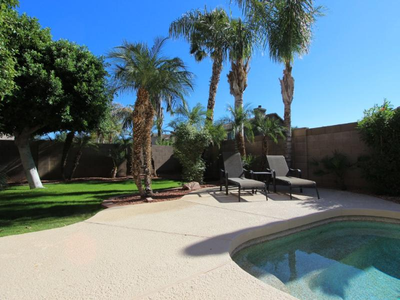 Backyard with grassy area, lounge chairs & pool. - Heated Private Pool, 3BD/2BA, Space for All - Glendale - rentals
