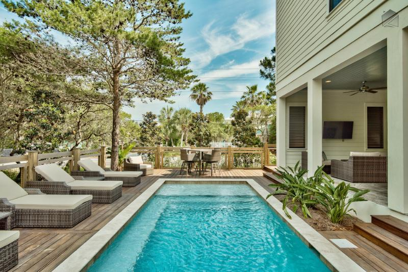 You'll love your salt water pool. There's even LED lights that change color at night while you swim. - Brand new home with outdoor kitchen, private pool, and peek-a-boo gulf views - Bewitching Dunes - Santa Rosa Beach - rentals