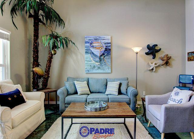 Living area with queen size sleeper sofa - Come enjoy this Sunny Spot with a Cool Pool! - Corpus Christi - rentals