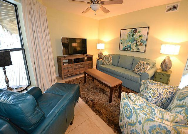 Living Room Area - Sandpiper 10A ~Listen to the Gulf through the Palms ~ Bender Vacation Rentals - Gulf Shores - rentals
