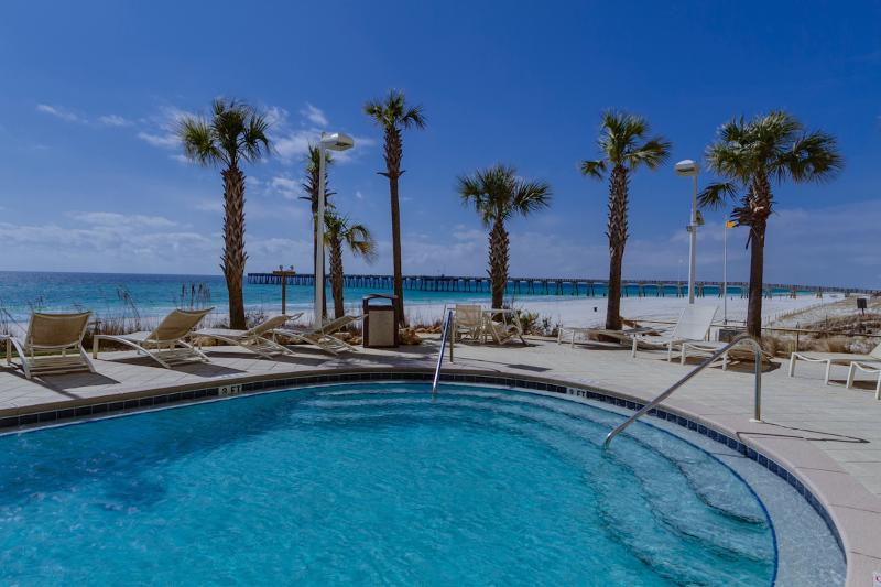 West Pool - one of two 175' free form pools next to the beach - Calypso 8th Flr Center East: 1BR-Master on Gulf - Panama City Beach - rentals