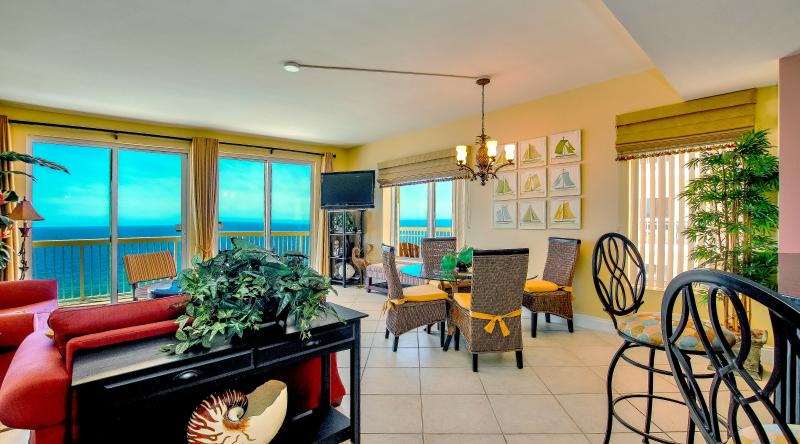 Living Room & Dinning area - CALYPSO TOWERS, PRIME BEACH FRONT, 2 BR.VIP PARK - Panama City Beach - rentals