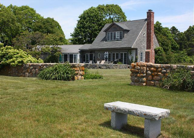 Exterior of home with bench and stone wall. - Eastern Point on the Sea:  Water views, private beach and gorgeous sunrises - Gloucester - rentals