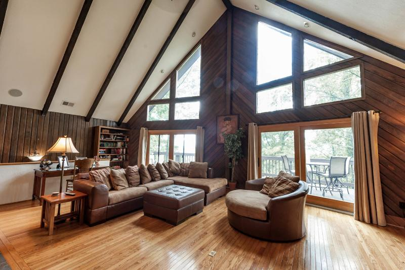 Living Room - Asheville Long Range Mountain/River Views HOT TUB - Asheville - rentals