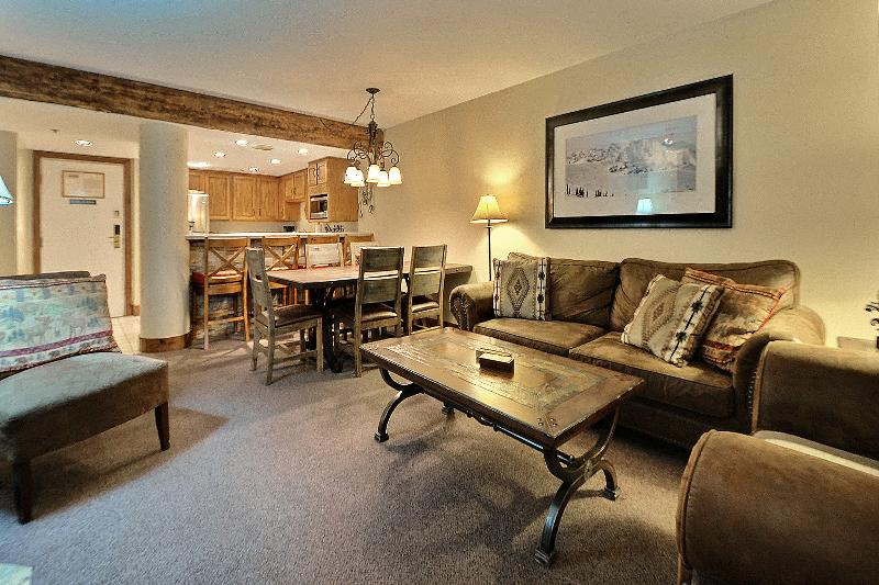 Living Room and Dining Area - Steps to Lift, 2 Bed 2 Bath with Private Hot Tub - Park City - rentals