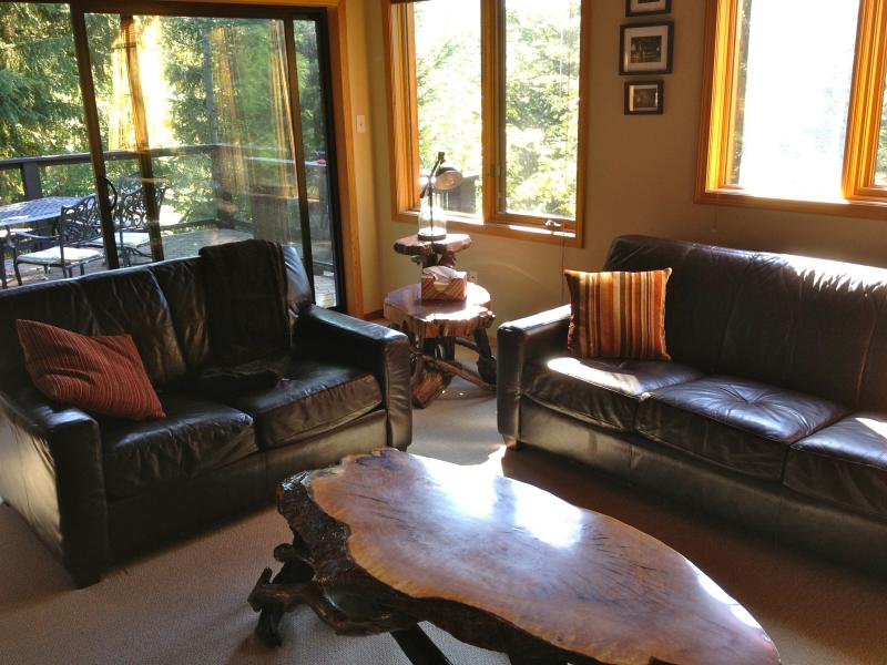 Rustic Living Room with Lots of Natural Light - Whistler White Gold Chalet - Whistler - rentals