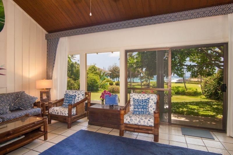 Manualoha 104, Beautifully decorated ocean view condo steps from Brennecke`s Beach. Sleeps 5. Free car* with stay of 7 nights or more. - Image 1 - Koloa - rentals