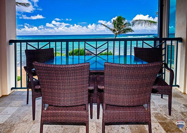 View from Master Bedroom Lanai - Waipouli #A404: Luxurious 2 bdr/3 bath Penthouse Suite - Direct Ocean Views - Kapaa - rentals