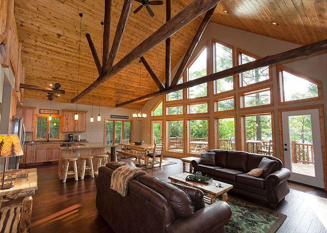 Living Room Area - The Cranberry Lake Chalet Private Vacation Rental Home - Eagle River - rentals