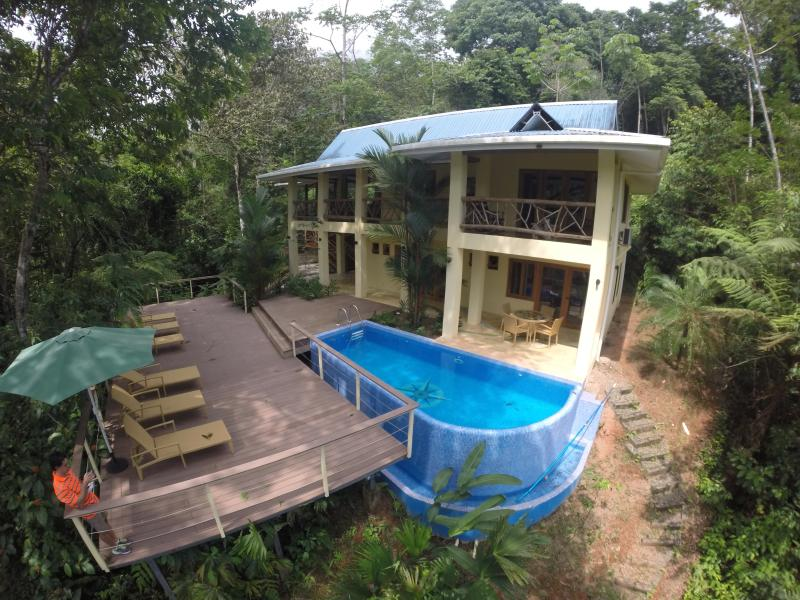 Get a bird view of the house with this photo - sleeps 9 people Costa Rica best Casa de Mono Locos - Playa Matapolo - rentals