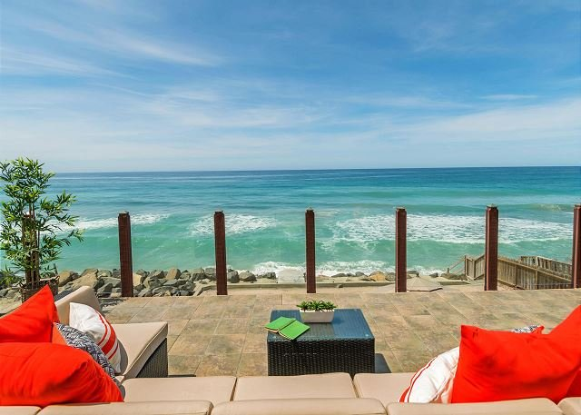 backyard patio area with beach view  - Gorgeous Single Family beach home, Designer Decorated & A/C - Oceanside - rentals