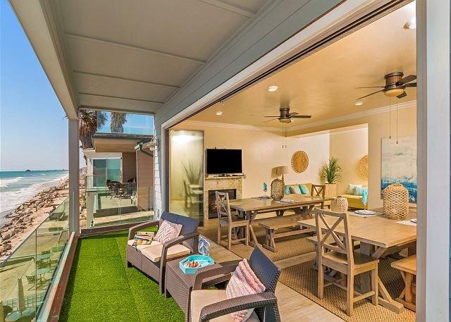dining room access to patio - Beautiful 7br + bonus room beachfront home Designer Decorated & A/C - Oceanside - rentals