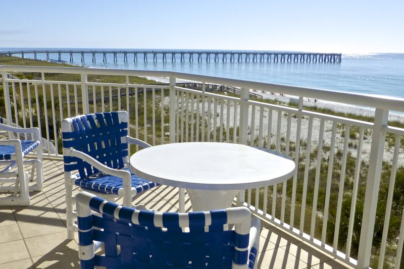 Wraparound balcony view of the Navarre Pier and overlooks Beach Colony's pool - The Pearl of Navarre - 3rd Floor, Corner Unit - Navarre - rentals